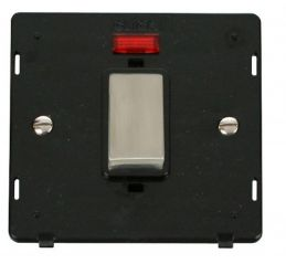 Scolmore Click Definity SIN501BKSS INGOT 45A 1 Gang Plate DP Switch With Neon Insert Black
