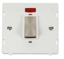 Scolmore Click Definity SIN501PWBS INGOT 45A 1 Gang Plate DP Switch With Neon Insert White