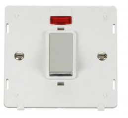 Scolmore Click Definity SIN501PWCH INGOT 45A 1 Gang Plate DP Switch With Neon Insert White