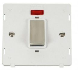 Scolmore Click Definity SIN501PWSS INGOT 45A 1 Gang Plate DP Switch With Neon Insert White