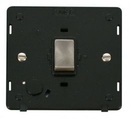 Scolmore Click Definity SIN522BKBS INGOT 20A DP Switch With Flex Outlet Insert Black/Brushed Stainless