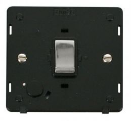 Scolmore Click Definity SIN522BKCH INGOT 20A DP Switch With Flex Outlet Insert Black/Chrome