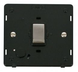 Scolmore Click Definity SIN522BKSS INGOT 20A DP Switch With Flex Outlet Insert Black/Stainless Steel