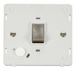 Scolmore Click Definity SIN522PWBS INGOT 20A DP Switch With Flex Outlet Insert White/Brushed Stainless