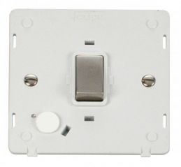 Scolmore Click Definity SIN522PWSS INGOT 20A DP Switch With Flex Outlet Insert White/Stainless Steel