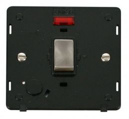 Scolmore Click Definity SIN523BKBS INGOT 20A DP Switch With Flex Outlet & Neon Insert Black/Brushed Stainless