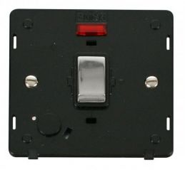 Scolmore Click Definity SIN523BKCH INGOT 20A DP Switch With Flex Outlet & Neon Insert Black/Chrome