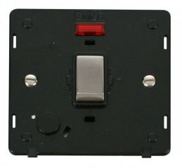 Scolmore Click Definity SIN523BKSS INGOT 20A DP Switch With Flex Outlet & Neon Insert Black/Stainless Steel