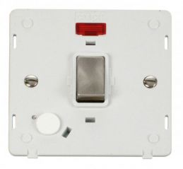 Scolmore Click Definity SIN523PWBS INGOT 20A DP Switch With Flex Outlet & Neon Insert White/Brushed Stainless