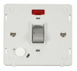Scolmore Click Definity SIN523PWCH INGOT 20A DP Switch With Flex Outlet & Neon Insert White/Chrome