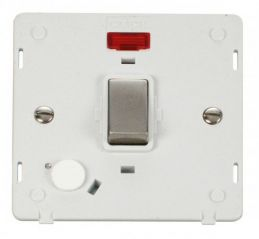 Scolmore Click Definity SIN523PWSS INGOT 20A DP Switch With Flex Outlet & Neon Insert White/Stainless Steel
