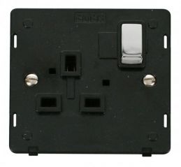 Scolmore Click Definity SIN535BKCH INGOT 1 Gang 13A DP Switched Socket Insert Black/Chrome