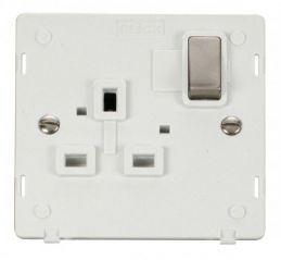 Scolmore Click Definity SIN535PWBS INGOT 1 Gang 13A DP Switched Socket Insert White/Brushed Stainless
