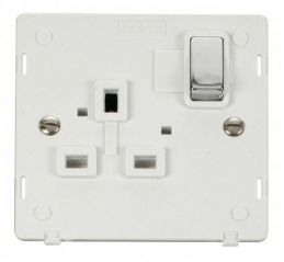 Scolmore Click Definity SIN535PWCH INGOT 1 Gang 13A DP Switched Socket Insert White/Chrome
