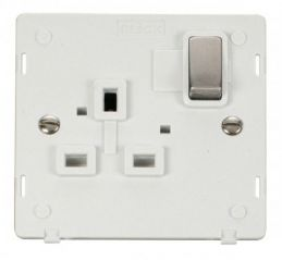 Scolmore Click Definity SIN535PWSS INGOT 1 Gang 13A DP Switched Socket Insert White/Stainless Steel