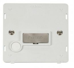 Scolmore Click Definity SIN550PWBS INGOT 13A Fused Conn. Unit With Flex Outlet Insert White/Brushed Stainless