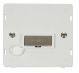 Scolmore Click Definity SIN550PWSS INGOT 13A Fused Conn. Unit With Flex Outlet Insert White/Stainless Steel