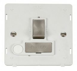 Scolmore Click Definity SIN551PWBS INGOT 13A Fused Sw. Conn. Unit With Flex Outlet Insert White/Brushed Stainless