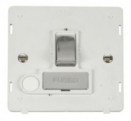Scolmore Click Definity SIN551PWCH INGOT 13A Fused Sw. Conn. Unit With Flex Outlet Insert White/Chrome