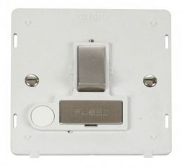 Scolmore Click Definity SIN551PWSS INGOT 13A Fused Sw. Conn. Unit With Flex Outlet Insert White/Stainless Steel