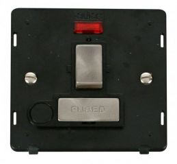 Scolmore Click Definity SIN552BKBS INGOT 13A Fused Sw. Conn. Unit With F/O Insert & Neon Black/Brushed Stainless