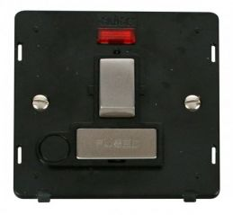 Scolmore Click Definity SIN552BKSS INGOT 13A Fused Sw. Conn. Unit With F/O Insert & Neon Black/Stainless Steel