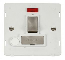 Scolmore Click Definity SIN552PWBS INGOT 13A Fused Sw. Conn. Unit With F/O Insert & Neon White/Brushed Stainless