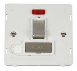 Scolmore Click Definity SIN552PWSS INGOT 13A Fused Sw. Conn. Unit With F/O Insert & Neon White/Stainless Steel