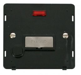 Scolmore Click Definity SIN553BKBS INGOT 13A Fused Conn. Unit With F/O Insert & Neon Black/Brushed Stainless