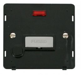 Scolmore Click Definity SIN553BKCH INGOT 13A Fused Conn. Unit With F/O Insert & Neon Black/Chrome