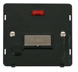 Scolmore Click Definity SIN553BKSS INGOT 13A Fused Conn. Unit With F/O Insert & Neon Black/Stainless Steel