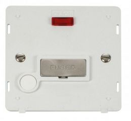Scolmore Click Definity SIN553PWBS INGOT 13A Fused Conn. Unit With F/O Insert & Neon White/Brushed Stainless