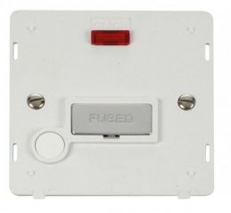 Scolmore Click Definity SIN553PWCH INGOT 13A Fused Conn. Unit With F/O Insert & Neon White/Chrome
