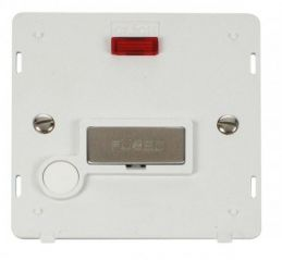 Scolmore Click Definity SIN553PWSS INGOT 13A Fused Conn. Unit With F/O Insert & Neon White/Stainless Steel