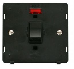 Scolmore Click Definity SIN623BK 20A 1 Gang DP Switch With Neon Insert Black