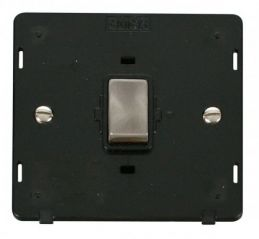 Scolmore Click Definity SIN722BKBS INGOT 20A 1 Gang DP Switch Insert Black/Brushed Stainless