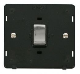 Scolmore Click Definity SIN722BKCH INGOT 20A 1 Gang DP Switch Insert Black/Chrome