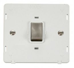 Scolmore Click Definity SIN722PWBS INGOT 20A 1 Gang DP Switch Insert White/Brushed Stainless