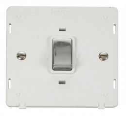 Scolmore Click Definity SIN722PWCH INGOT 20A 1 Gang DP Switch Insert White/Chrome
