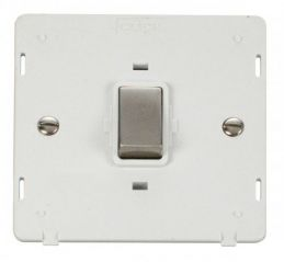 Scolmore Click Definity SIN722PWSS INGOT 20A 1 Gang DP Switch Insert White/Stainless Steel