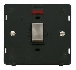 Scolmore Click Definity SIN723BKBS INGOT 20A 1 Gang DP Switch With Neon Insert Black/Brushed Stainless