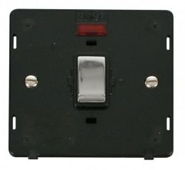 Scolmore Click Definity SIN723BKCH INGOT 20A 1 Gang DP Switch With Neon Insert Black/Chrome