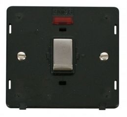 Scolmore Click Definity SIN723BKSS INGOT 20A 1 Gang DP Switch With Neon Insert Black/Stainless Steel