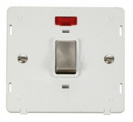 Scolmore Click Definity SIN723PWBS INGOT 20A 1 Gang DP Switch With Neon Insert White/Brushed Stainless