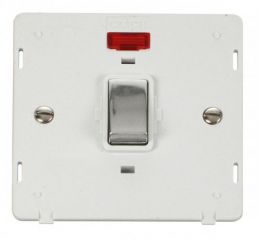 Scolmore Click Definity SIN723PWCH INGOT 20A 1 Gang DP Switch With Neon Insert White/Chrome