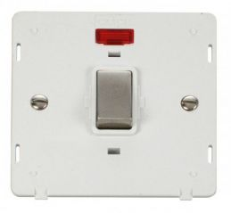 Scolmore Click Definity SIN723PWSS INGOT 20A 1 Gang DP Switch With Neon Insert White/Stainless Steel