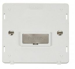 Scolmore Click Definity SIN750PWBS INGOT 13A Fused Connection Unit Insert White/Brushed Stainless