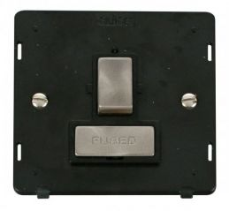 Scolmore Click Definity SIN751BKBS INGOT 13A Fused Switched Connection Unit Insert Black/Brushed Stainless