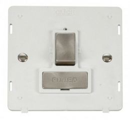 Scolmore Click Definity SIN751PWBS INGOT 13A Fused Switched Connection Unit Insert White/Brushed Stainless