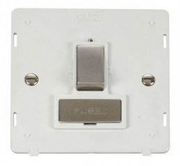 Scolmore Click Definity SIN751PWSS INGOT 13A Fused Switched Connection Unit Insert White/Stainless Steel